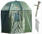 NECO Angelschirm Isothermen Ø250 cm Fischerschirm mit Umhang Schirmständer und Erdnägel, Schutz Regen Wind Kalt und UV Sonnen, 4 Männer und Karpfengepäck + GRATIS Etui 15035