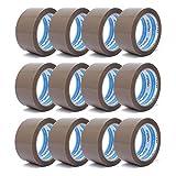 gws Paket-Klebeband PP leise Verpackungsband geräuscharm abrollend | Packband mit hoher Klebkraft in Profi-Qualität | versch. Farben | Länge: 66 m | Breite: 50 mm | Dicke: 50 μm (12 Rollen - braun)