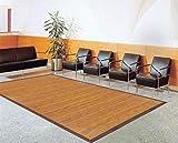 DE-COmmerce Bambusteppich Sense 140x200cm, 17mm Stege, breite Bordüre, massives Bambus | Bordürenteppich | Teppich | Bambusmatte | Wohnzimmer | Küche nachhaltig und ökologisch.