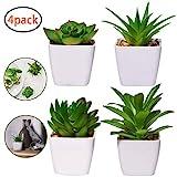 4 Stück Kunstpflanzen außenbereich Künstliche Pflanzen Kunstpflanzen badezimmer Kunstpflanzen im Topf Künstliche Sukkulenten Tischdeko Haus Balkon Büro Deko MEHRWEG