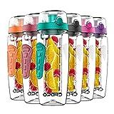 Opard Trinkflasche mit Früchtebehälter 946ml Wasserflasche mit fruchteinsatz Infuser Sports Water Bottle Tritan BPA-frei Flasche mit Rezept und Pinsel (Dunkelgrün, 946ml)