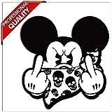SkinoEu® 2 STÜCK Vinyl Aufkleber Stickers AUTOAUFKLEBER Micky Maus Mickey Mouse MITTELFINGER STINKEFINGER Auto Motorrad Fenster TÜR Fahrrad Tuning B 34