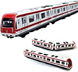Zugmodell, 4-teiliges Wagenset Alloy City Rail U-Bahn-Zugmodell, 1/64-U-Bahn / Wagenmodell aus Aluminium, rot-weiß