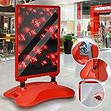 Kundenstopper DIN A1 Mobil - Alu Rahmen und 2 Folien Doppelseitig, mit Wasser befüllbar, in Rot - Plakatständer, Gehwegaufsteller, Standfuß Tafel