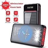 Aikove Wireless Powerbank 26800mAh Solar Externe Handy Akku mit (USB C&Micro) Zwei 2,4A Eingänge und DREI 2,4A Ausgänge, LCD Hohe Kapazitäts Solarladegeräte für Das Tablettes, Smartphones …