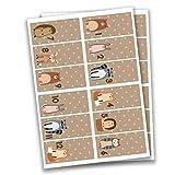 Papierdrachen 24 Adventskalender Zahlen Sticker - rechteckig - braun Nr 34 - Aufkleber zum Basteln und Dekorieren