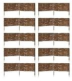 MC.Sammler 10 x Beeteinfassung aus Weide 16 Größen Weidenzaun Rasenkante Beetbegrenzung Steckzaun imprägniert mit Buchepflöcken für leichtes Einsetzen Länge: 120 cm Höhe: 30 cm