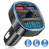 【2020 Neueste】FM Transmitter, HOLALEI Auto Bluetooth 5.0 Adapter Radio Transmitter mit Dual USB Ladegerät QC 3.0 Quick Charger FM Sender Freisprecheinrichtung mit Mikrofon
