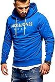 JACK & JONES Herren Hoodie Kapuzenpullover Sweatshirt Pullover Print Streetwear (Large, Surf The Web)