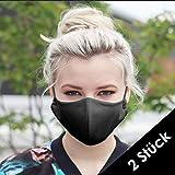 NIMBIM 2er Set Behelfsmaske, Maske mit antibakterielle Silberfasern, waschbare Damen & Herrenmaske, atmungsaktiv, Maske in schwarz