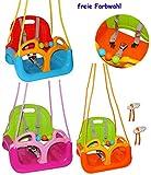 alles-meine.de GmbH Gitterschaukel / Babyschaukel - mitwachsend & umbaubar - mit Gurt -  ROT / GELB / BLAU  - Leichter Einstieg ! - belastbar 100 kg - Kinderschaukel ab 1 Jahre..