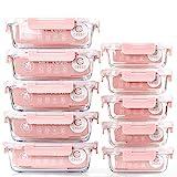 Vorratsbehälter mit Deckel [10 Teile] Glas-Frischhaltedosen, BPA-Frei, Clip & Close, Geeignet für Mikrowelle, Gefrierschrank und Spülmaschine