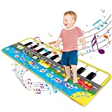 Magicfun Tanzmatte für Kinder, Klaviermatte Musikmatte Spielteppich Verstellbar mit 9 Fahrzeuggeräuschen und 10 Keyboards, Lernspielzeug Geschenke für Jungen Mädchen