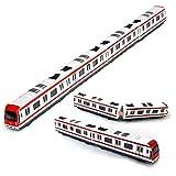 Zug-Modell, 4pcs Spielzeug-Auto-Satz-Legierungs-Stadt-Schienen-Untergrundbahn-Zug-Modell, 1/64 Skala-Legierungs-Untergrundbahn- / Auto-Modell SpielwarenPlay, rotes Weiß