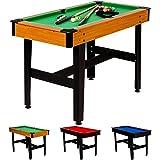 Maxstore 4 ft Billardtisch COMPACT + Zubehör, 3 Farbvarianten, 122x61x76 cm (LxBxH), Schadstoffgeprüft, Helles Holzdekor, Grünes Tuch