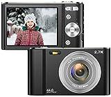 Vnieetsr Digitalkamera, 2,7K Full HD Fotokamera, 44MP 16X Zoom-Kompaktkamera mit 2,88 Zoll IPS-LCD-Bildschirmtaschenkamera für Kinder, Schüler, Schule, Kinder, Fotografie