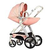 Pushchair 3-in-1-Babyby-Kinderwagen für Hochleistungs-Eierschale zum Sitzen und Liegen zweiseitiger Kleinkind-Sessel mit Baby-Knottchen-Kombination Strollers 0-3 Jahre,Pink