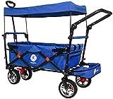 Miweba Faltbarer Bollerwagen MB-20 für Kinder - Bremse - Dach - Breitreifen - Transporttasche - Klappbar - UV-Beständig - Handwagen faltbar (MB-20 Blau)