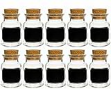 Gewürzgläser Korkengläser Press-korken | 10 teilig | Füllmenge 150 ml Rund | Tafel-Etiketten Kreidetafel Tafelfolie T C | Hochwertiges Glasdose Glasgefäß Pfeffer Sonnenblumenkerne Kandis Bonbons