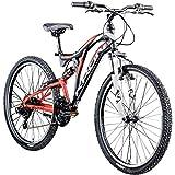 KRON Mountainbike Fully 26 Zoll Jugendrad Fahrrad Ares 3.0 MTB 21 Gänge Rad ATB (schwarz/rot/weiß, 24 cm)