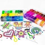 Bügelperlen Set , Steckperlen - 12000 Perlen,48 Farben mit 4 Bügelpapier,8 Basis ,2 Pinzette,3 Steckplatte,6 Cartoon-Vorlage und Sonstiges Zubehör