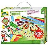 Lena 42629 Jumbo Bastelkoffer mit vielfältigem Material zum Basteln, mit Moosgummi, Buntpapier, Perlen, Pompon, Satinbänder, Knöpfe, Kulleraugen und vielem mehr, ab 5 Jahre, bunt, 800 Teile