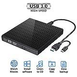 Externes CD DVD Laufwerk, USB 3.0 Typ C Dual Port Slim CD-RW/VCD-RW Brenner und Reader Geräuscharme Hochgeschwindigkeits-Datenübertragung Super Laufwerk für MacBook, Laptop, Win 7/8/10 / XP