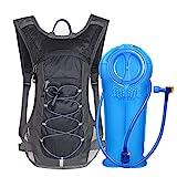 Unigear Trinkrucksack mit 2L Trinkblase Hydrationspack Fahrradrucksack für Joggen, Wandern, Radfahren, Camping und Bergsteig MEHRWEG (Schwarz)
