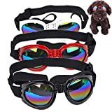 mengger 3Pcs Hunde Sonnenbrille Verstellbarer Riemen für UV-Sonnenbrillen Schwimmbrille hundebrille Hund Brille Eyewear Eyeglass Schutzbrille Wasserdichter Schutz für kleine und mittlere Hunde