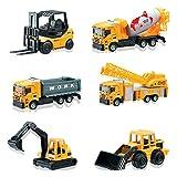 deAO 6 Die Cast Construction Trucks Spielset - inklusive Gabelstapler, Mischer, Lader, Dumper, Bulldozer und Kran