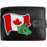Canada Flag Kanadier Flagge Karte Wappen Bild auf KLASSEK Marken Herren Geldbörse Portemonnaie Echtes Leder RFID Schutz mit Münzfach Zubehör Geschenk mit Metall Box