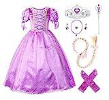 JerrisApparel Prinzessin Rapunzel Kleid Kostüm (120cm, Lila mit Zubehör)