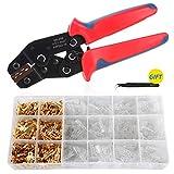 Crimpzange Flachsteckhülsen Set, Aweohtle Krimpzange Kabelschuhzange Crimpzangen Flachstecker Set mit 300 Stück Kabelstecker 0,5-1,5mm² (AWG 22-16)