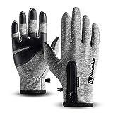 T98 Touchscreen Handschuhe, Fahrradhandschuhe Laufhandschuhe Winter Warme Sporthandschuhe Herren Damen Winddicht Wasserdichter Winterhandschuhe für Radfahren, Wandern, Skifahren (Gray, M)