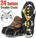Wirezoll Steigeisen, Schuhe Spike mit 24 Edelstahl Zähne und Silikon Band Anti Rutsch auf EIS und Schnee für Wandern Bergschuhe Stiefel usw. (Schwarz, L)