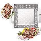 HEYNNA Edelstahl Grillkorb - Grillzubehör Grillschale für Gemüse, Fleisch & Fisch auf dem Grill oder im Backofen