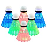 Senston LED Federball 6 Stück Badminton Beleuchtun Nylon/Gans Shuttlecock für Outdoor en Indoor Sportsaktivitäte