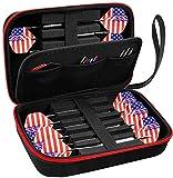 ALKOO Dart Hülle - Darts Tasche Box, Platz für 12 Stück and Schaft, Flights, Spitzen, Anti-Lose Gummiringe- Schwarz