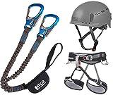 LACD Klettersteigset Pro + Klettergurt Start Größe L + Helm Protector 2.0 phantome