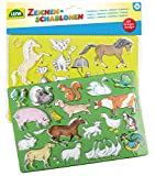 Lena 65767 Pferde/Katzen und Bauernhoftiere, 2er Set, je ca. 26 x 19 cm Zeichenschablonen