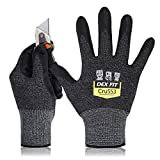 DEX FIT Level 5 Cut Schnittfeste Handschuhe Cru553, 3D Komfort Stretch Fit, Power Grip, Strapazierfähiger Schaumnitril, Smart Touch, Maschinenwaschbar, Dünn & Leicht, Schwarzgrau 6 (XS) 1 Paar