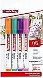 edding 4500 Textil-Marker - 4er Blister - Fun Farben - Rundspitze 2-3 mm - Zum Bemalen von Textilien (wie z.B. T-Shirt, Kissen, Beutel) - Textilfarbe waschmaschinenfest bis 60°C