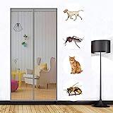 MODKOY Fliegengitter Tür Magnetisch Insektenschutz Grau 170x225cm, Fliegenvorhang HäNde Frei Volle GrößE Automatisches, für Flure/Türen
