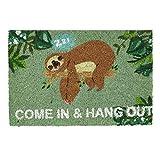 Relaxdays Fußmatte Kokos 'Come In & Hang Out', Faultier-Motiv, Türmatte außen & innen, Kokosmatte 60x40 cm, grün/braun