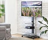 FITUEYES TV Wagen TV Bodenständer mit Rollen Fernseh Standfuß Drehbar Höhenverstellbar 32 bis 65 Zoll LED LCD TV Plasma Max.VESA:600 * 400 TT306503GB