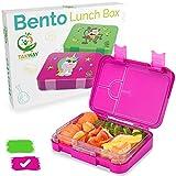 TAKWAY Kinder Brotdose mit Fächern (variabel 4 oder 6) | Einhorn Motiv | Bento Box auslaufsicher und robust | Kindergarten Lunchbox mit Unterteilungen (pink)