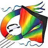 Riesiger Regenbogen-Leichtwinddrache mit 50m Drachenschnur - Lenkdrachen für Kinder - Kinder-Drachen - Flugdrachen Einleiner mit eBook zum Download - Fliegt wie 'ne Eins auch bei leichter Brise