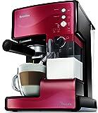 Breville PrimaLatte Kaffee- und Espressomaschine | italienische Pumpe mit 15 Bar | fr Kaffeepulver oder Pads geeignet | Integrierter automatischer Milchschäumer | Metallic/Rot | VCF046X