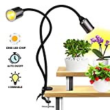 Relassy LED Pflanzenlampe, 75W Auto ON/Off Vollspektrum Pflanzenlicht mit Timing Funktion, EU-Stecker, 4 Dimmbaren, Flexibler Schwanenhals Wachstumslampe für Indoor Pflanzen, Gewächshaus (F-75W)