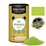 Weizengraspulver BIO aus jungem Weizengras, extra fein gemahlen ohne jegliche künstliche Zusätze, laborgeprüft und zertifiziert in praktischer Karton-Dose von Green Panda, 125 g